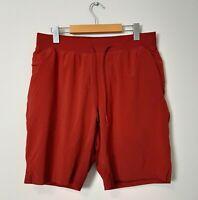 "Lululemon Mens Size L T.H.E. 9"" Liner Red Lined Athletic Running Gym Shorts"