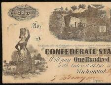 1862 $100 DOLLAR CONFEDERATE STATES CURRENCY CIVIL WAR NOTE PAPER MONEY T-40 AU