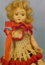 Vintage Hard Plastic Doll Blonde Hair Red White Crocheted Dress Retro Adorable