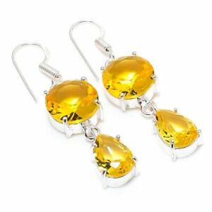 "Citrine Gemstone Handmade 925 Sterling Silver Jewelry Earring 1.97 "" e287"