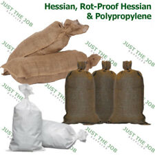 Sand Bags with Ring Ties 760x330mm ~ Rot Proof Hessian White Polypropylene Woven