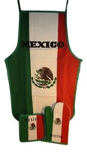 Country of Mexico Mexican Green White Red BBQ Barbeque Apron Cook Set