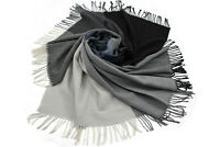 Umhang Stola Webschal reine Wolle extrafein Karo hellgrau schwarz blau 150x145cm