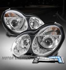 FOR 01-07 MERCEDES-BENZ W203 C-CLASS 4DR CHROME PROJECTOR HEADLIGHT+BLUE LED DRL