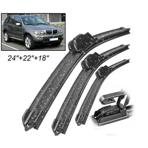 Front Rear Tailgate Wiper Blades Set For BMW X5 E53 SAV 3.0 4.6 2000-2006 Rubber
