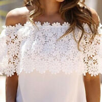 Women Crochet Lace Chiffon Blouse Off Shoulder Tops Holiday Summer Casual Shirt