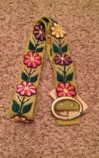 Embroidered Peruvian handmade wool belt, olive green with colorful floral