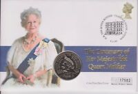 GB QEII PNC COIN COVER 2000 QUEEN MOTHER 100TH BIRTHDAY £5 COIN MERCURY
