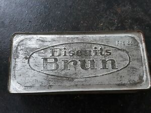 ancienne boîte métal BISCUITS BRUN années 1950'S ISERE PRIX 35 FRANCS