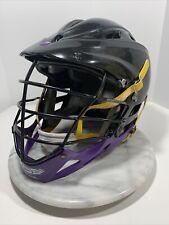 Cascade Pro7 Lacrosse Helmet~ Black Purple Yellow + Chin Strap Adult Osfm