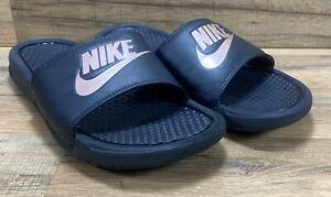 Nike Benassi Mens Size 10 Sandals Slides Black Metallic Gold