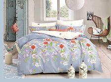 100% Cotton Flower Design Duvet Quilt Cover Bed Set & Two Pillowcase - KING SIZE