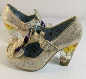 Irregular Choice 'Can't Touch This' Cream & Gold Pattern Stilettos EU 40