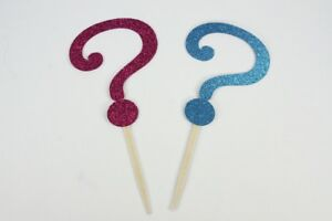 Gender Reveal Glitter QUESTION MARK Cupcake Topper Pick Choose Color and Pack
