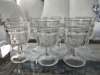 Set 7 Vintage Rare  Pressed Glass Water or Wine Goblets