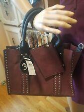 NWT Wilson's Leather Rivet Faux Leather Handbag Purse Tote Maroon $160.00
