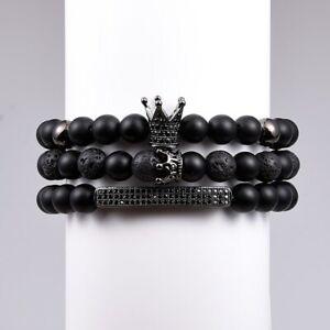 Mens Royal Black Crown CZ Bracelet Set Black Lava Rock Luxury 3 Pcs Beads