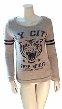 Jennyfer NY City Free Spirit Hearts Society Tiger Grey Top Shirt - SZ XS