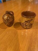 Vintage Miniature Karen Cahill Redware Pottery Bird Crock & Flower Jug Set 2000