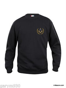 Masonic Freemason Round Neck Black  Sweat shirt with Square & Compass Design