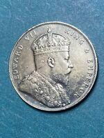 1907 Straits Settlement Edward VII ONE DOLLAR SILVER ORIGINAL TONING.AU-UNC RARE