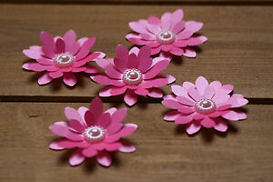 15 HOT PINK SHIMMER 3D FLOWERS WEDDING STATIONERY, TABLE CONFETTI, TOPPERS,