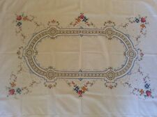 Lovely Quality Vintage Floral Embroidered Cotton Linen Table Cloth 66x50 inches