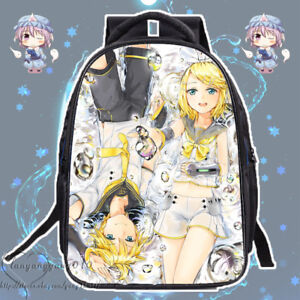 Kagamine Rin/Len Shoulders Bag Otaku Cosplay Backpack Unisex Black Schoolbag #L6