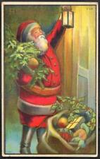 Christmas Vintage Postcard 1910 Santa Claus, Red Robes, at the Door With Lantern