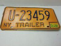 "Vintage Original New York Trailer License Plate ""U-23459"" 1984 091613ame"