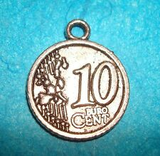 Pendant Euro Coin Charm Money European Coin 10 Cent Coin Collector Charm French