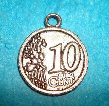 Pendant Euro Coin Charm Money European Coin 10 Cent Coin Collector Charm French