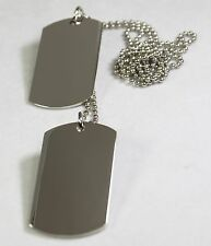 2 SILVER COLOR STAINLESS STEEL DOG TAG PENDANT NECKLACE MILITARY STYLE
