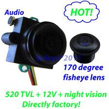 520TVL 12V wide angle 170 deg video audio color Mini security Camera MC495A-12V