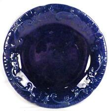 Antique Pottery Dinner Plate Leeds Cobalt Blue Embossed Flowers Leaves