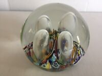 VTG Gentile Glass Star City WV Paperweight Millefiori Bubbles Blown Glass Art