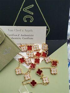 Van Cleef & Arpels Coral Diamonds Necklace 20 Motif 18K Yellow Gold
