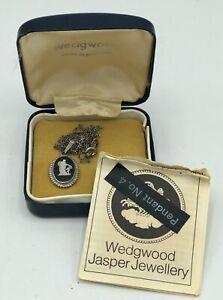 Wedgewood Black Jasperware Silver Cameo Necklace Pendant #4 /b