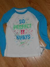 """NWT - Nike long sleeved aqua & white sparkly """"So Perfect It Hurts"""" top - 4 girls"""