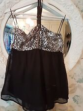 Black Top with Silver Sequin/Beading Detail  Size 10 BNWT