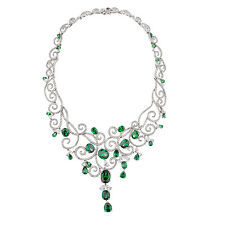 Sterling Silver (925) White Green Cubic Zirconia Necklace