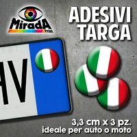 ADESIVI STICKERS BOLLINO TARGA BANDIERA ITALIA TRICOLORE FLAG AUTO MOTO PLATE