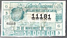 MEXICO LOTTERY TICKET 1950 Nov 29 Pineapple Piña Green EXPIRED! Ppd-USA