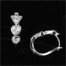 Heart Love 18K GP Wedding Party Earrings Pair Hoop Lady Costume Jewelry CZ Clear