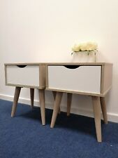Pair of Scandinavian Style Bedside Tables - Nordic Lamp - Retro Side Cabinet