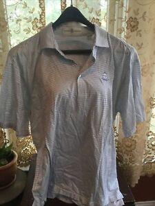 Fairway &  Greene Men's Golf Polo Stripe Shirt Blue White Size L Deepdale