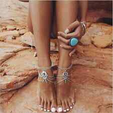 Boho Beach Turquoise Bead Tassel Chain Anklet Barefoot Sandal Foot Jewelry Bc121