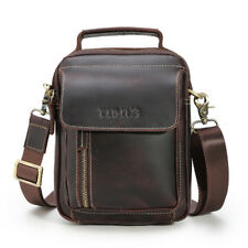 Retro Men's Real Leather Shoulder Bag Handbag Crossbody Bag Tote Zipper Satchel