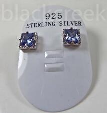 925 Sterling Silver 6mm Princess Tanzanite C.Z. Art Deco Solitaire Stud Earrings