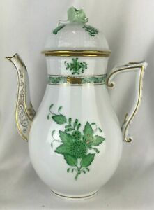 """Herend Hungary Green Chinese Bouquet Demitasse Coffee Tea Pot 8"""" Tall"""